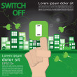 Stock Vector: Switch off, sustainable development concept