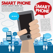 Smart phone communicated conceptual illustration. — Stock Vector