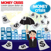 Money crisis conceptual illustration. — Stock Vector