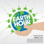 Earth Hour conceptual illustration. — Cтоковый вектор