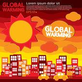 Global warming illustration concept. — Stock Vector