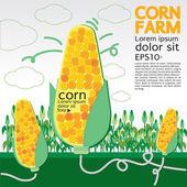 Corn farm illustration — Stock Vector