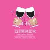 Dating Dinner Illustration Concept . — Stock Vector