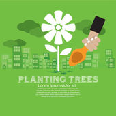 Planting trees Concept — Stock Vector