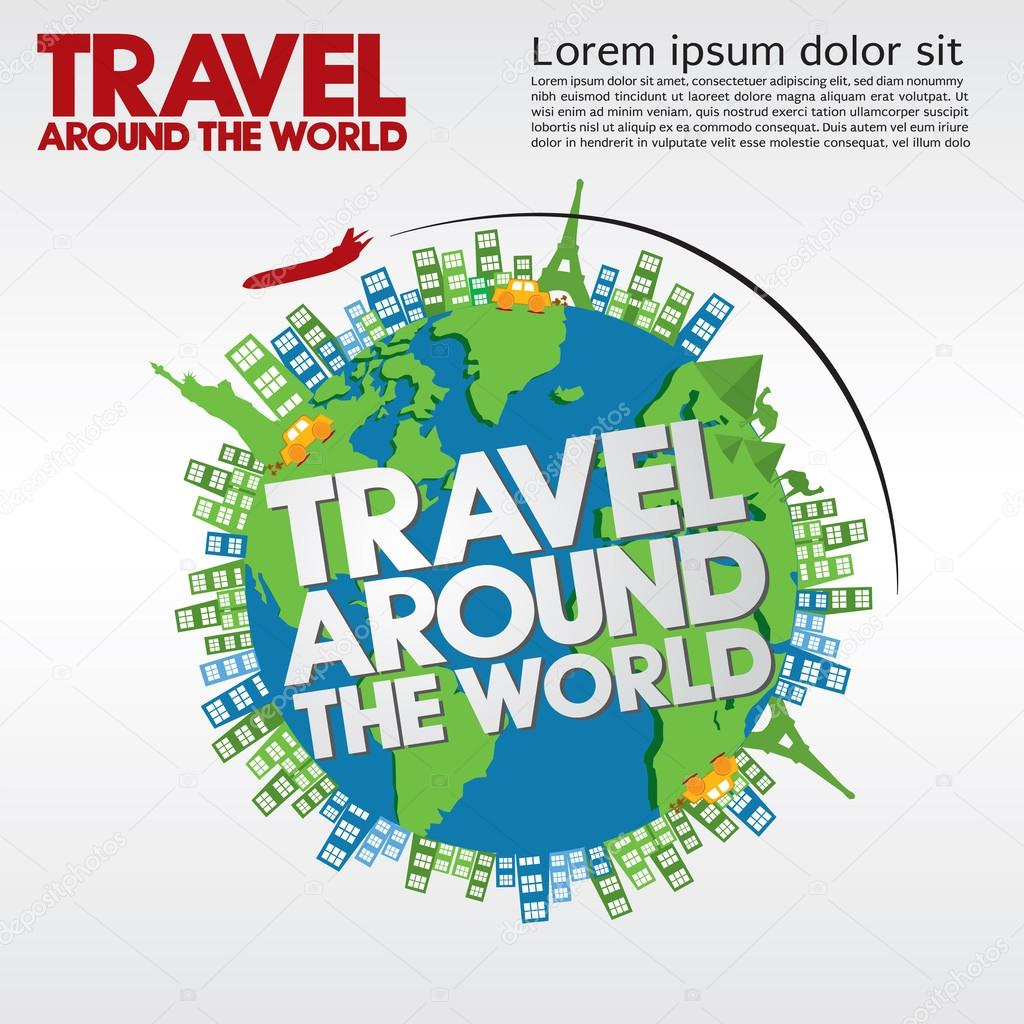 Travel around the world conceptual illustration stock for All inclusive around the world trip