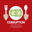Stock Vector: Corruption. Money on plate