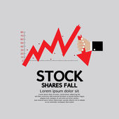 Stock Shares Fall Down — Stock Vector