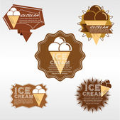 Set of Ice Cream Badge — Stok Vektör