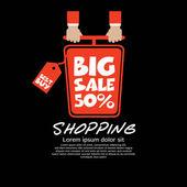 Top View Shopping Cart Big Sale — Stock Vector