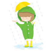 Little Girl In Rainy Day — Stock Vector