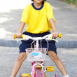 Little Asian Girl With Bicycle. — Stock Photo
