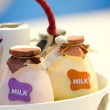 Close up shot bottles of milk in basket. — Stock Photo