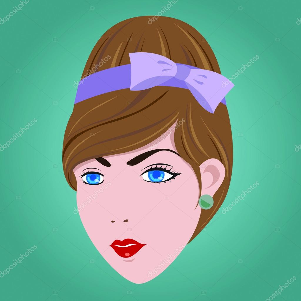 60s Illustration Style 60s Woman Hair Style Eps10