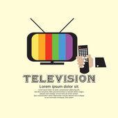 Retro televisie met hand met een afstandsbediening. — Stockvector