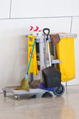 Yellow Janitor Cart. — Stock Photo