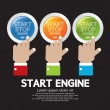 Hand Push Start-Stop Engine Button Set — Stock Vector