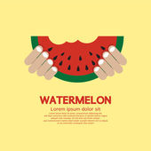 Hand Hold A Piece Of Watermelon — Stock Vector