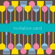 Utensils Pattern Invitation Card — Stock Vector
