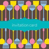 Utensils Pattern Invitation Card — Stock Vector