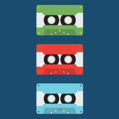 Flat Design Cassette Tape Vector Illustration — Stock Vector