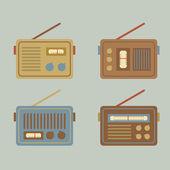 Flat Design Vintage Radio Vector Illustration — Stock Vector