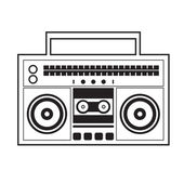 Ghetto Blaster Radio Vector Illustration — Vettoriale Stock