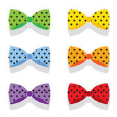 Set Of Colorful Polka Dot Bow Ties — Stock Vector