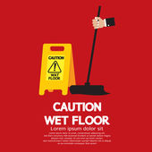 Caution Wet Floor Vector Illustration — Stock Vector