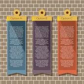 Quadratische Banner hängen auf Ziegelmauer — Stockvektor