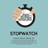 Hand Holding A Stopwatch — Stock Vector