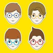 Boy Hair Style Sticker Set — Stock Vector