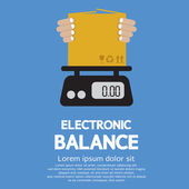 Cardboard Box In Hand On Electronic Balance Vector Illustration — Stock Vector