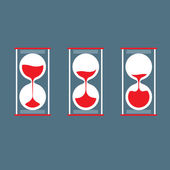 Three Step Of Hourglass Flat Design — Stock Vector