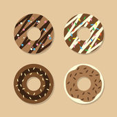 Set Of Chocolate Donuts  — Stock Vector