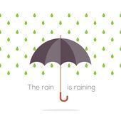Umbrella In The Rain Vector Illustration — Stok Vektör