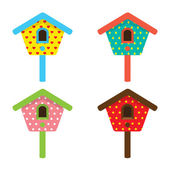 Colorful Birdhouses Vector Illustration — Vetor de Stock