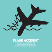 Plane Accident Sinking Into The Sea — Stock Vector