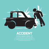 Car Accident Knocked Down A Man Vector Illustration — Stock Vector