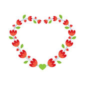 Red Flowers Wreath Vector Illustration — Stock Vector