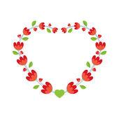 красные цветы венок векторные иллюстрации — Cтоковый вектор