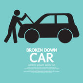 Broken Down Car Vector Illustration — Stock Vector