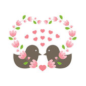 Love Birds Wearing A Heart Wreath — Stock Vector