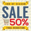 End of Season Sale Vintage Vector Illustration — Stock Vector