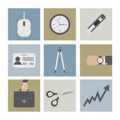 Flat Design Office Icons — Vector de stock