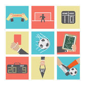 Football or Soccer Icons Set — Stock Vector