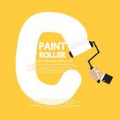 Paint Roller Alphabet C  — Stock Vector