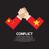 China VS Vietnam Arm-Wrestle — Stockvektor