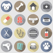 Modern Flat Design Dog Icons Set — Stock Vector