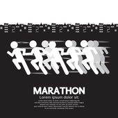 Marathon Runner Sign Vector Illustration  — Stockvektor