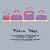 Women Handbags Display On Shelf — Stock Vector